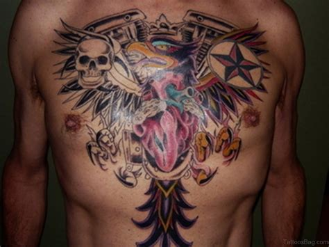 skull heart tattoo 75 brilliant chest tattoos for