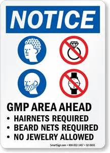 10 X 10 Kitchen Design Gmp Area Hairnets Beard Nets Required No Jewelry Sign