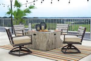 Patio Furniture Frisco by Peachstone Beige And Brown Square Fire Pit Outdoor Dining