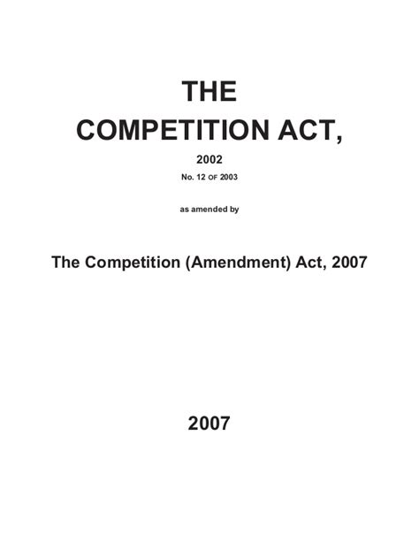 Competition Act 2002 Notes For Mba by Indian Competition Act2002