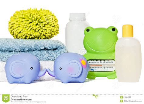 Baby Bathroom Accessories Baby Bath Accessories Isolated Stock Image Image 24304171