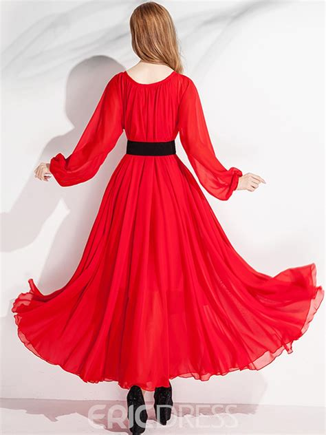 solid color maxi dresses ericdress solid color sleeve expansion maxi dress