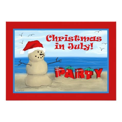 christmas in july party invitations zazzle