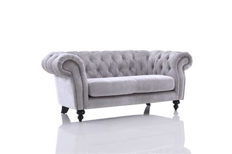 Divani Casa Alexandrina Grey Tufted Fabric Sofa Set Tufted Gray Sofa