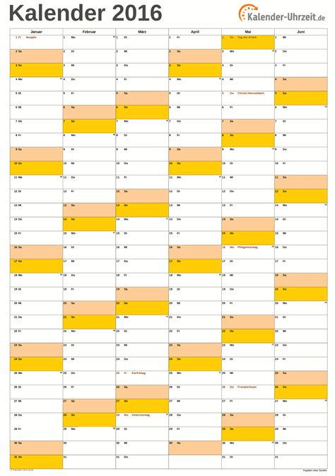 A4 Kalender 2016 Excel Kalender 2016 Kostenlos