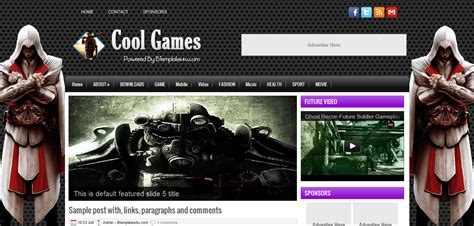 cool games blogger template cool blog templates