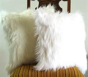Fluffy Decorative Pillows White Fur Pillow Throw 16 X 16 Fluffy White Fur White Seude