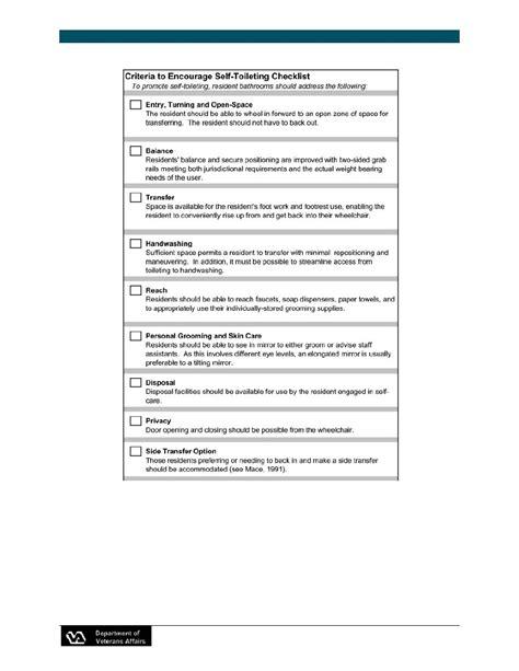 criteria to encourage self toileting checklist