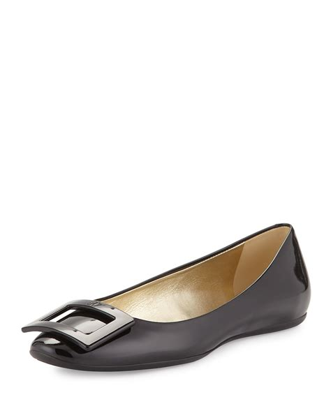 roger vivier flat shoes roger vivier gomette patent leather flat in black lyst