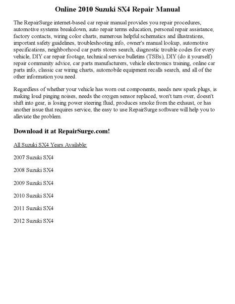 service and repair manuals 2008 suzuki sx4 electronic toll collection 2010 suzuki sx4 repair manual online by carmelle123 issuu