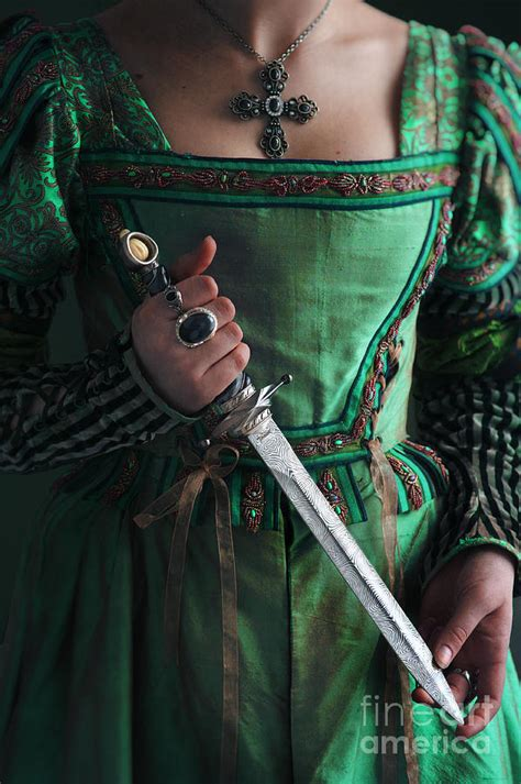 Brown Duvet Set Medieval Woman Holding A Dagger Photograph By Lee Avison