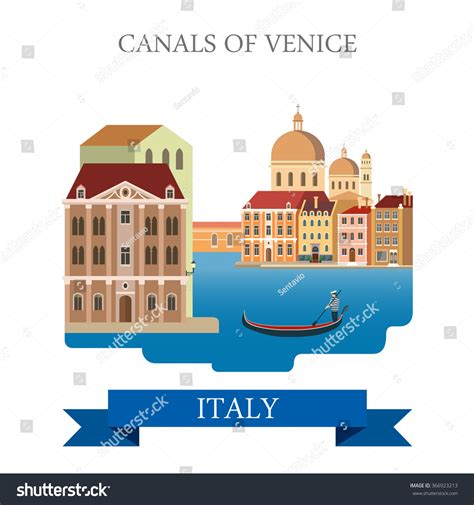 cartoon venice boat canals venice gondola italy flat cartoon stock vector