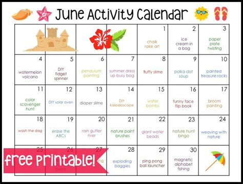 printable calendar activities june activity calendar