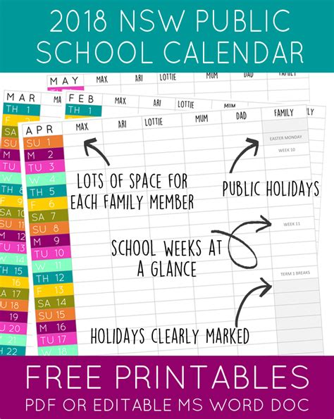 printable calendar 2018 with public holidays 2018 nsw public school holidays calendar maxabella loves