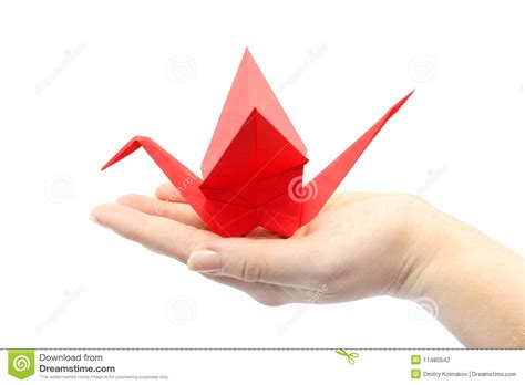 Origami Holding - origami crane sitting on the s stock