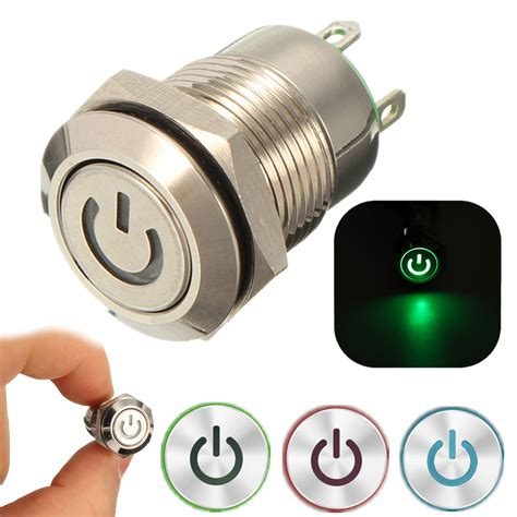 Power Push Button Switch On 12v 2a 9 5mm waterproof led metal cap power momentary push