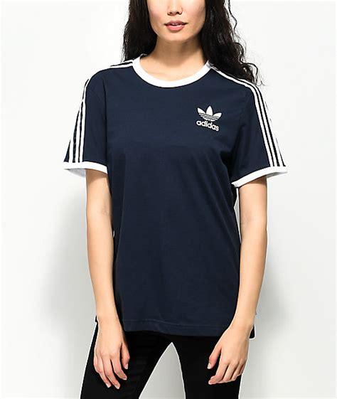 T Shirt Adidas Navy Check Bluesky adidas 3 stripe blue t shirt zumiez