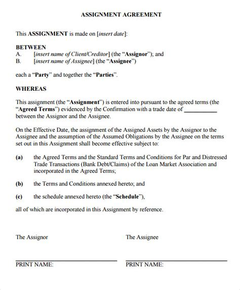 6 Sle Assignment Agreements Sle Templates Assignment Contract Template
