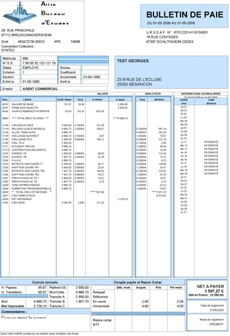 Cv Document Exle by Modele Bulletin De Salaire Sur Excel