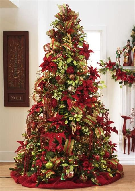 beautiful christmas tree featuring red green and gold