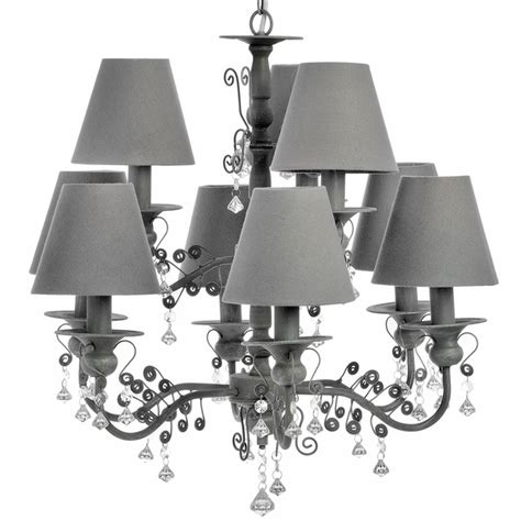 Grey Chandelier Shades Bayonne 9 Light Cluster Vintage Grey Chandelier W Shades Ceiling Pendant Ebay