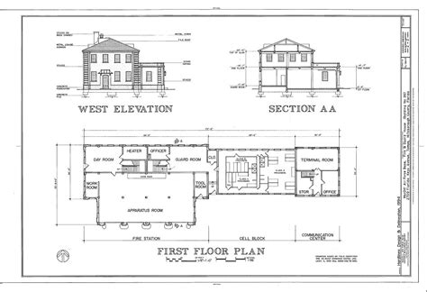 section of plan west elevation section and first floor plan macdill