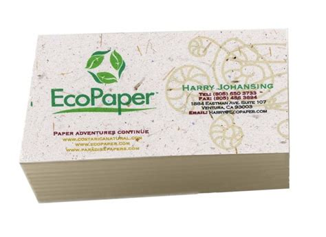250 eco friendly business cards recycled organic banana