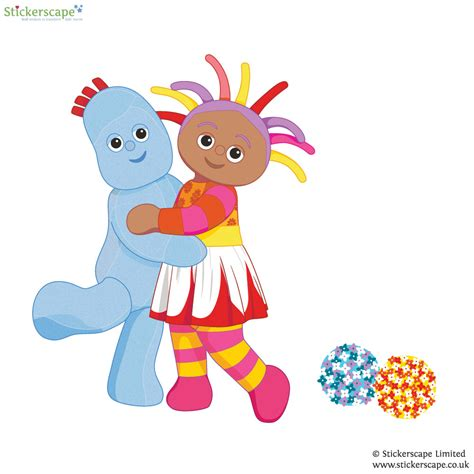 igglepiggle and upsy daisy hug wall sticker stickerscape