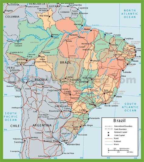 political map brazil political map of brazil