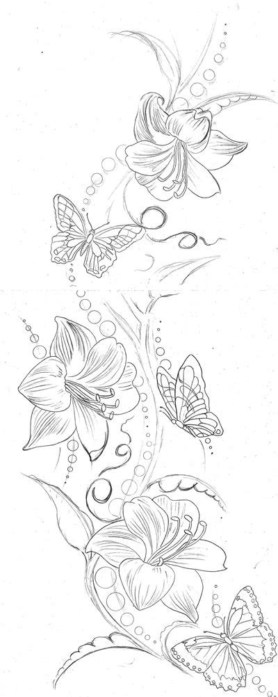 lilies and butterfly tattoo designs ink flower by elaine currin