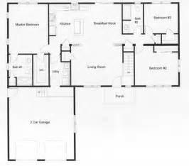 2 Bedroom Ranch Floor Plans open floor plan with the privacy of a master bedroom on one side and 2