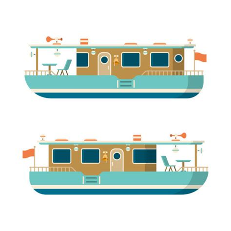 clipart narrow boat royalty free houseboat clip art vector images