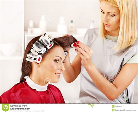 women forced to wear hair curlers woman wear hair curlers on head royalty free stock