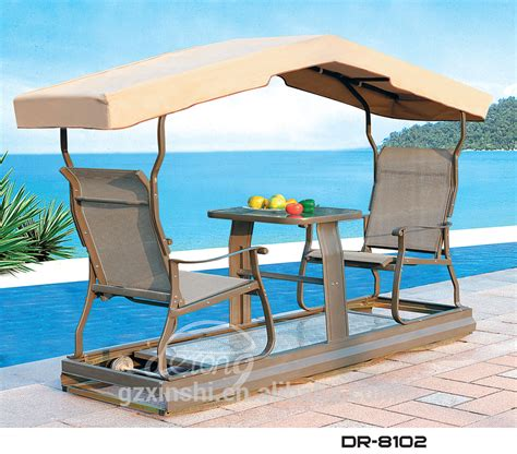 Patio Swing With Canopy And Table Aluminum 2 Seat Garden Waterproof Swing Chair With Canopy
