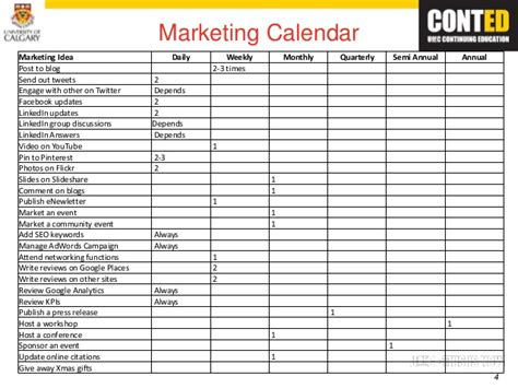 marketing caign calendar template computer hardware marketing strategy