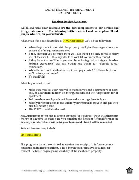 referral agreement template sle resident referral policy for distribution