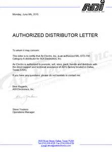 Authorization Letter Distributor Featured Suppliers Adi Electronics