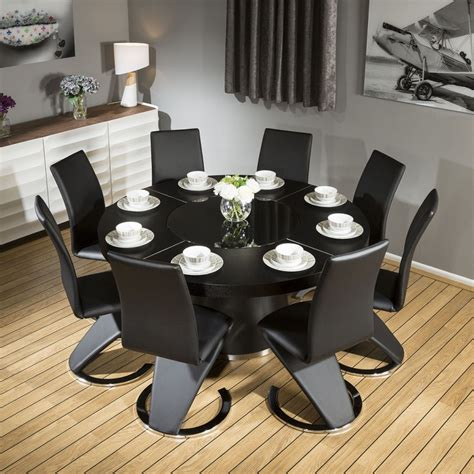 Modern Dining Table For 8 Modern Large Black Oak Dining Table 8 Black Z Shape Chairs 6736 Quatropi