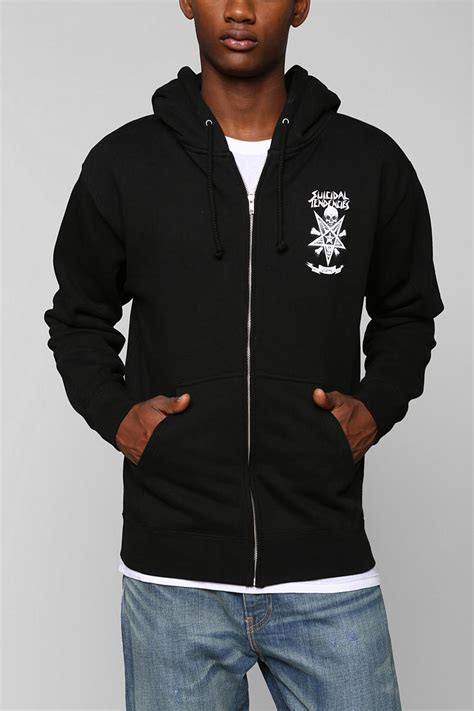 Jaket Baju Hangat Zipper Switer Hoodie Obey outfitters obey x suicidal tendencies possessed zip up hoodie sweatshirt in black for