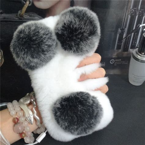 Casing Iphone 5 Bunny panda fuzzy soft rabbit fur cover for iphone se
