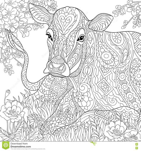 zentangle stylized cow stock vector image of 2021