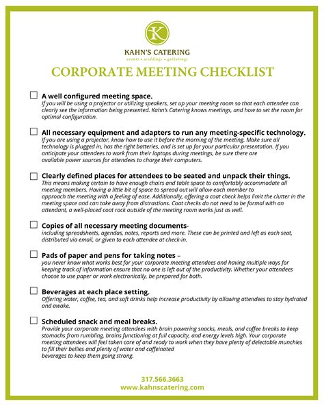 conference room setup checklist the corporate meeting checklist kahn s catering