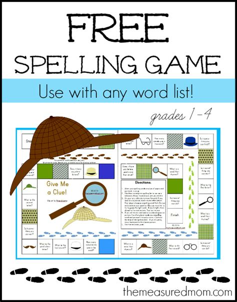 printable board games for spelling free spelling game for grades 1 4 use with any word list