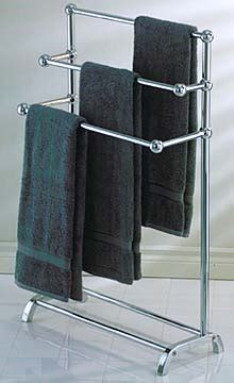 taymor   freestanding  tier towel rack polished