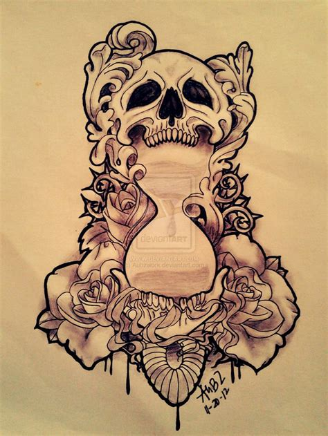tattoo flash layout modified skull x hourglass by aubzwork deviantart com on