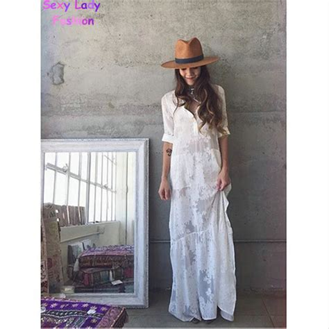 white lace boho maxi dress 2016 women boho slit side lace white chiffon maxi dress