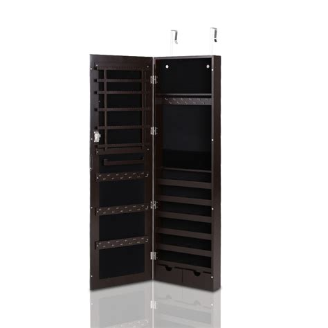 hanging mirrored jewelry armoire khaki ikayaa mirrored hanging jewelry armoire cabinet