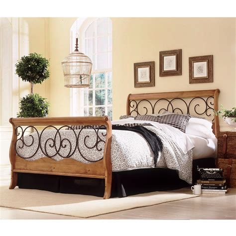 metal and wood bedroom furniture dunhill wood and iron bed autumn brown honey oak finish