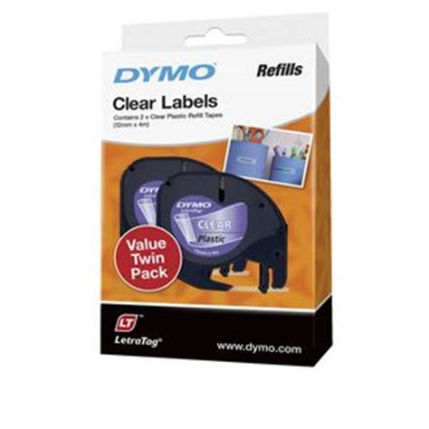 Label Letratag Dymo Plastic Clear Dymo Letratag dymo letratag plastic label 12mm black on clear 2 pack officeworks