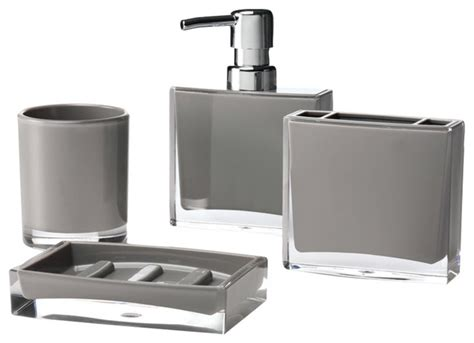 Modern Bathroom Accessories Set Iced 4 Bathroom Accessory Set Gray Modern Bathroom Accessory Sets By Immanuel Ind